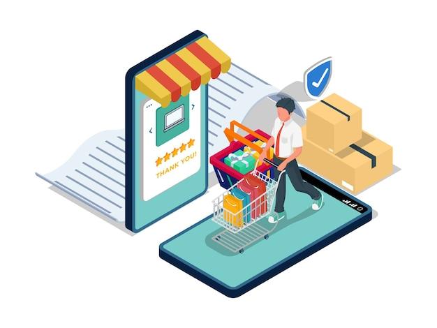 Mann bringen einkaufswagen mit geschenk. sicheres e-commerce-illustrationskonzept mit charakter.