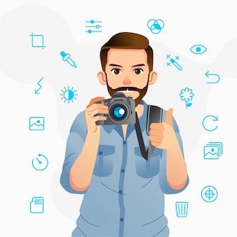 Mann bringt eine kamera und daumen hoch mit verschiedenen strichzeichnungen symbol um ihn herum