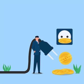 Mann bringt elektrische stecker mit münzen fallen metapher der energieeinsparung