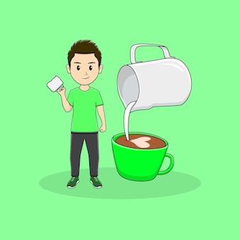 Mann bringt kaffeebecher mit milchkännchen-design