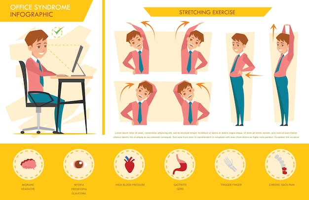Mann büro syndrom infographik und stretching-übung