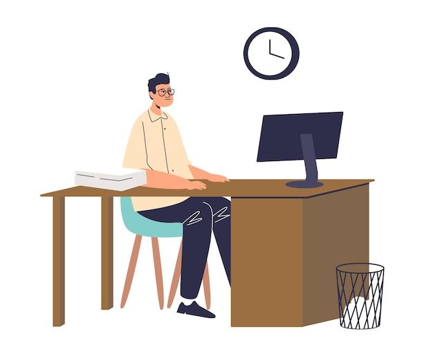 Mann büroangestellter zögern am arbeitsplatz