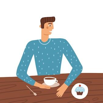 Mann-cartoon-figur sitzt am tisch im restaurant und trinkt kaffee mit kuchen junger mann mit...