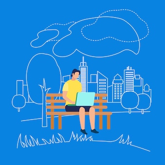 Mann-charakter, der auf bank im park mit laptop sitzt