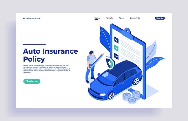 Mann-charakter, der das formular für die autoversicherungspolice unterschreibt und der versicherungsagent, der ein sicherheitsdokument bereitstellt