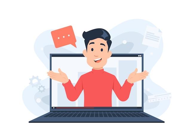 Mann-charakter, der online-webinar-konzeptillustration im flachen design unterrichtet