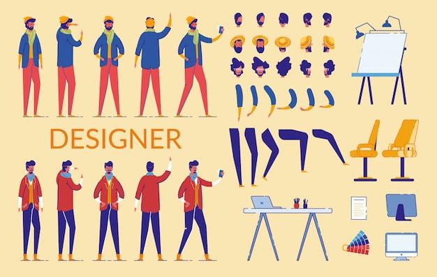 Mann-charakter-designer-erbauer, ausrüstung.