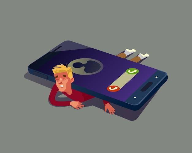 Mann charakter hängen von der smartphone-illustration ab