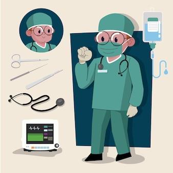 Mann chirurg süße 2d-figur bereit für animation komplett mit job-tools