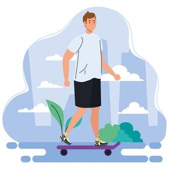Mann, der aktivitäten im freien durchführt, junger mann im skateboard