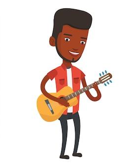 Mann, der akustische gitarrenvektorillustration spielt.