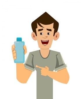 Mann, der alkoholgelflasche hält und zeigt