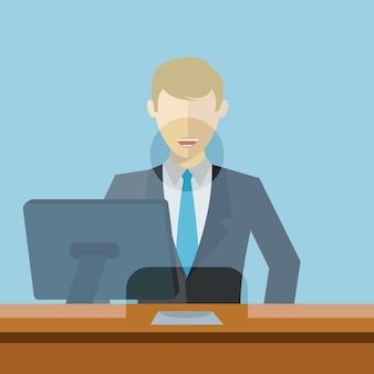 Mann, der als bankangestellter arbeitet