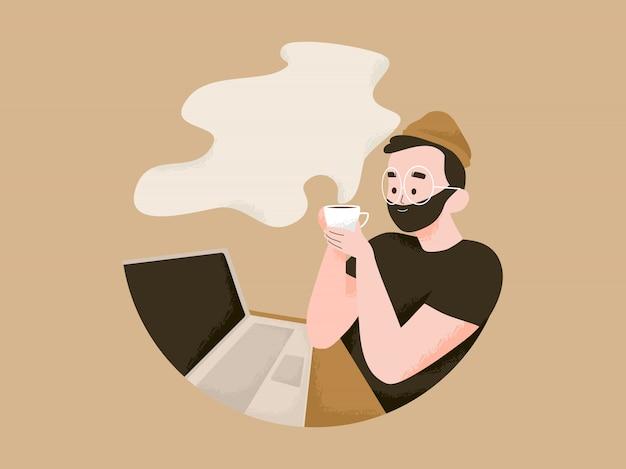 Mann, der am laptop arbeitet und eine kaffeeillustration hat. internationaler tag des kaffees mit textraumkonzept