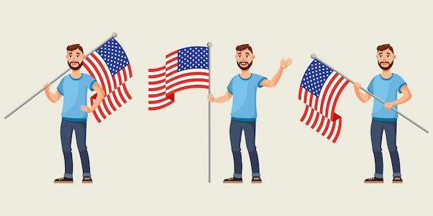 Mann, der amerikanische flagge in verschiedenen posen hält. männliche figur im cartoon-stil.