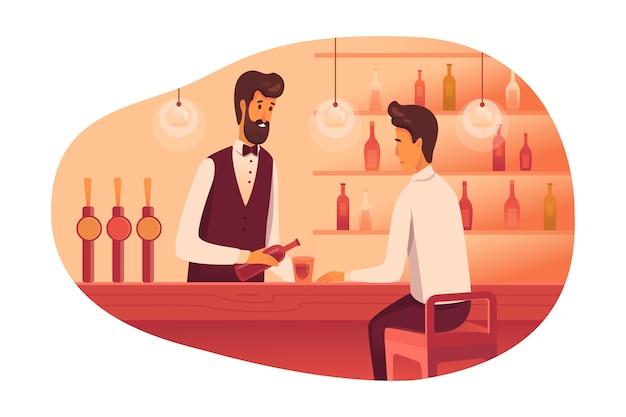 Mann, der an der flachen illustration der bartheke sitzt, barmann, der alkoholisches getränk in glas gießt, trauriger kerl, der allein trinkt, nachtclubarbeiter, der cocktail macht, büro-manager, der sich entspannt