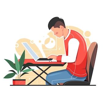 Mann, der an laptop arbeitet, isolierte vektorillustration
