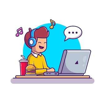 Mann, der an laptop-illustration arbeitet. arbeit von zu hause aus zeichentrickfigur. menschen isoliert