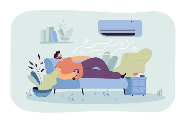 Mann, der auf couch unter kaltem luftstrom vom conditioner entspannt. karikaturillustration