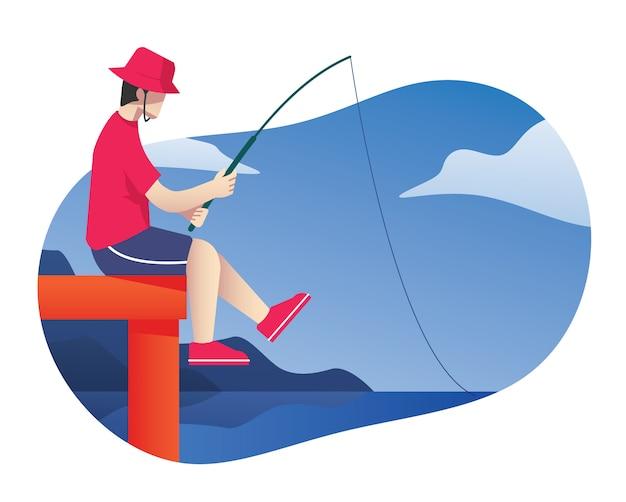 Mann, der auf einem dockfischen mit stange sitzt