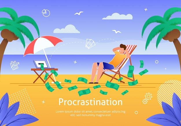 Mann, der auf strand nahe dem ozean verdient geld sich entspannt.