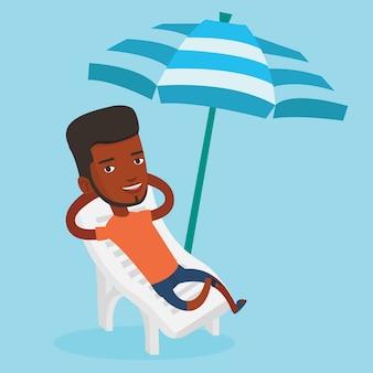 Mann, der auf strandstuhlillustration entspannt.