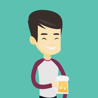 Mann, der bier trinkt.