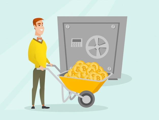 Mann, der bitcoins in der kryptokalten geldbörse hält.