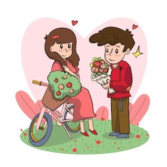 Mann, der blumen hält, die frau vorschlagen, ihn glückliches valentinstagkonzept zu heiraten