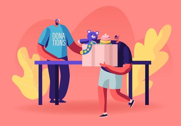 Mann, der box mit kinderspielzeug für die spende an wohltätigkeitsorganisation hält, hilft kindern in schwierigkeiten und in armen familien mit finanzproblemen. karikatur flache illustration