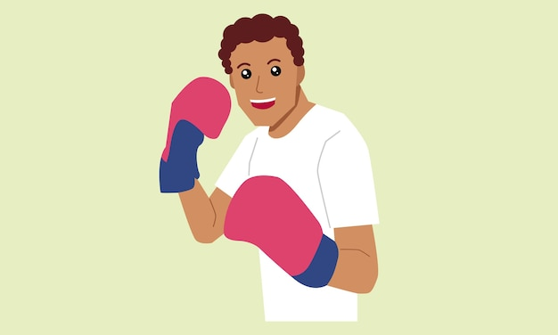 Mann, der boxhandschuhe sport trägt