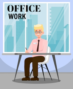 Mann, der büro-arbeits-flache vektorillustration erledigt