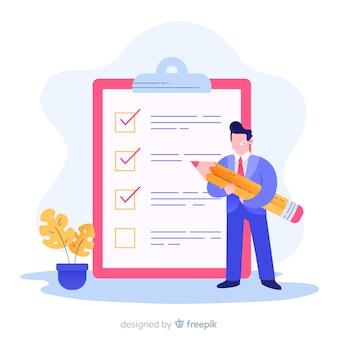 Mann, der checklistenillustration analysiert