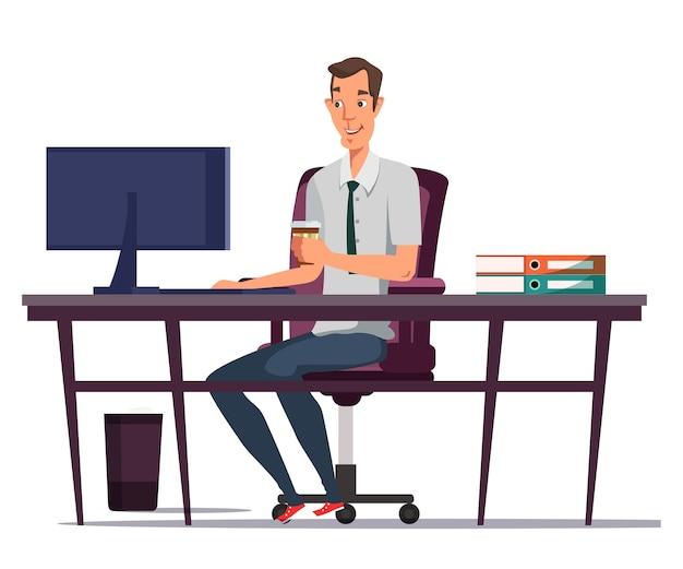 Mann, der computer benutzt und kaffeeillustrationsbüroangestellten trinkt, der am schreibtisch sitzt
