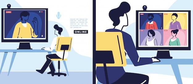Mann, der computer für virtuelles treffen, banner verwendet