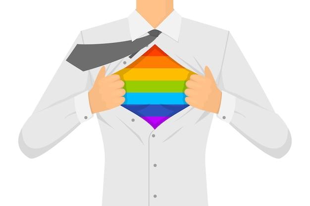 Mann, der das hemd lgbt-zeichen zerreißt