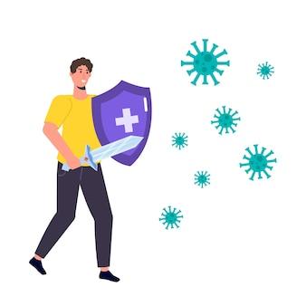 Mann, der das virus mit einem schwert bekämpft. immunitätsschild-konzept. illustration