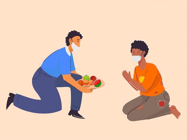 Mann, der der bedürftigen person früchte mit sicherheitsmaske gibt und sich vor coronavirus schützt.