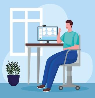 Mann, der desktop für online-besprechungen im büro verwendet