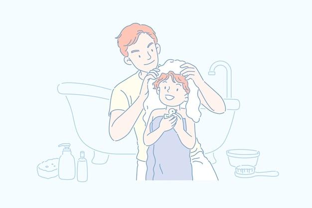 Mann, der die haare seines sohnes im badezimmer trocknet, strichgrafikart