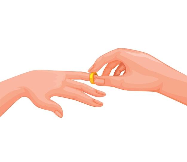 Mann, der ehering auf frauenhandverlobungs- und -heiratszeremoniesymbolillustrationsvektor setzt