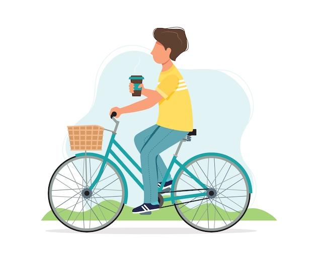 Mann, der ein fahrrad im frühjahr mit kaffeetasse reitet.