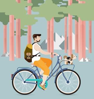 Mann, der ein fahrrad mit hund reitet