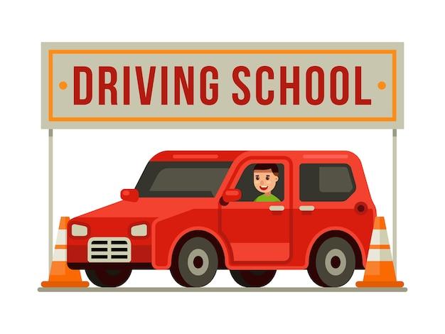 Mann, der ein rotes auto an der fahrschule mit verkehrskegeln fährt
