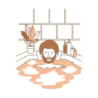 Mann, der eine badewanne mit haus nimmt