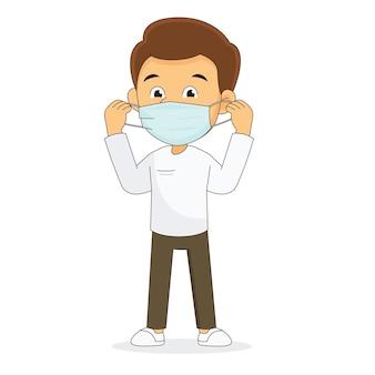 Mann, der eine gesichtsmaske, covid-19, coronavirus trägt