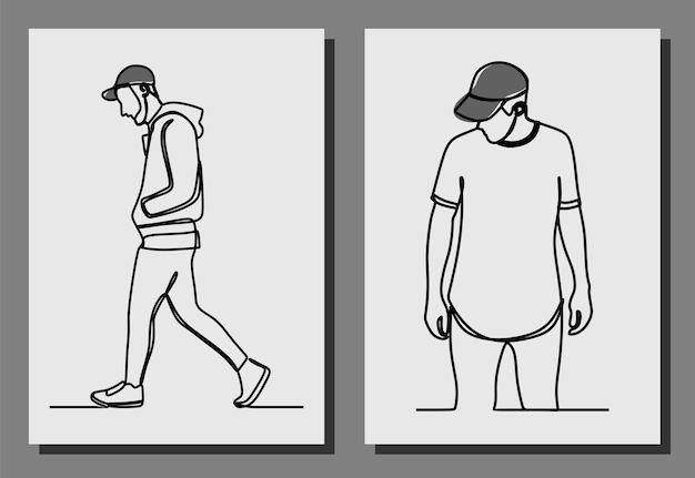 Mann, der eine kappe einzeilige kunst durchgehende linie premium-vektor trägt