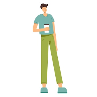 Mann, der eine tasse kaffee in der hand hält, vektorillustration