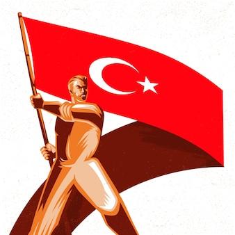 Mann, der eine türkei-flagge mit stolzvektorillustration hält