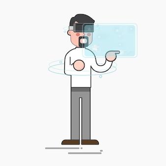 Mann, der eine vorgerückte virtuelle technologie verwendet